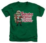 Youth: Santa Claus Is Comin To Town - Santa Logo Shirt