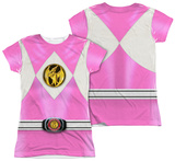 Juniors: Power Rangers - Pink Ranger Emblem (Front/Back Print) T-Shirt
