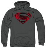 Hoodie: Man Of Steel - Red And Black Glyph Pullover Hoodie