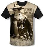John Wayne - Stoic Cowboy(black back) T-Shirt