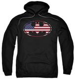 Hoodie: Batman - American Flag Oval Pullover Hoodie