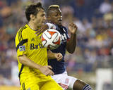 Jul 26, 2014 - MLS: Columbus Crew vs New England Revolution - Dimitry Imbongo, Michael Parkhurst Photo by David Butler II