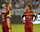 2014 MLS Playoffs: Nov 9, Real Salt Lake vs LA Galaxy - Kyle Beckerman, Robbie Keane, Nat Borchers Photo by Jake Roth