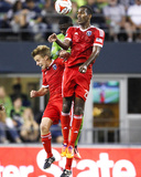 Aug 20, 2014 - MLS: San Jose Earthquakes vs Seattle Sounders - Atiba Harris, Tommy Thompson Photo by Joe Nicholson