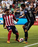 Jul 12, 2014 - MLS: Chivas USA vs Vancouver Whitecaps - Pedro Morales, Leandro Barrera Photo by Anne-Marie Sorvin