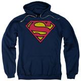Hoodie: Superman - Distressed Shield Pullover Hoodie
