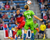 Jun 7, 2014 - MLS: Seattle Sounders vs Chicago Fire - Quincy Amarikwa, Chad Marshall Photo by Mike Dinovo