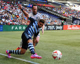Aug 10, 2014 - MLS: Sporting KC vs Vancouver Whitecaps - Dom Dwyer, Andy O'Brien Photo by Anne-Marie Sorvin
