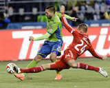 2014 MLS Playoffs: Nov 10, FC Dallas vs Seattle Sounders - Clint Dempsey, Matt Hedges Photo by Steven Bisig