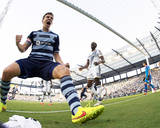 Jul 19, 2014 - MLS: Los Angeles Galaxy vs Sporting KC - Lawrence Olum, Matt Besler Photo by Gary Rohman