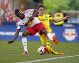 Jul 12, 2014 - MLS: Columbus Crew vs New York Red Bulls - Ethan Finlay, Ambroise Oyongo Photo by Jim O'Connor