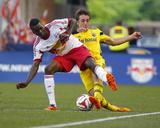 Jul 12, 2014 - MLS: Columbus Crew vs New York Red Bulls - Ethan Finlay, Ambroise Oyongo Photo by Jim O'Connor