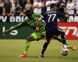 Jul 5, 2014 - MLS: Seattle Sounders vs Vancouver Whitecaps - Pedro Morales, Jalil Anibaba Photo by Anne-Marie Sorvin
