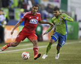 2014 MLS Playoffs: Nov 10, FC Dallas vs Seattle Sounders - Tesho Akindele, DeAndre Yedlin Photo by Joe Nicholson