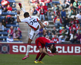 Apr 19, 2014 - MLS: New England Revolution vs Chicago Fire - Mike Magee, Darrius Barnes Photo by Mike Dinovo