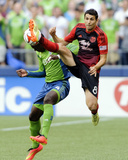 Jul 13, 2014 - MLS: Portland Timbers vs Seattle Sounders - Diego Valeri, Jalil Anibaba Photo by Steven Bisig