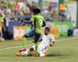 Aug 10, 2014 - MLS: Houston Dynamo vs Seattle Sounders - Luis Garrido, Obafemi Martins Photo by Steven Bisig