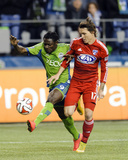 2014 MLS Playoffs: Nov 10, FC Dallas vs Seattle Sounders - Obafemi Martins, Zach Loyd Photo by Steven Bisig