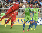 Aug 2, 2014 - MLS: Seattle Sounders vs San Jose Earthquakes - Clint Dempsey, Jason Hernandez Photo by Kyle Terada