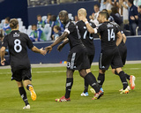 Apr 19, 2014 - MLS: Montreal Impact vs Sporting KC - Graham Zusi, Dom Dwyer, Aurelien Collin Photo by Gary Rohman