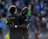 Apr 12, 2014 - MLS: Real Salt Lake vs Philadelphia Union - Maurice Edu, Andrew Wenger Photo by John Geliebter