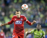2014 MLS Playoffs: Nov 10, FC Dallas vs Seattle Sounders - Obafemi Martins, Matt Hedges Photo by Joe Nicholson