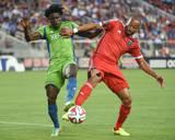 Aug 2, 2014 - MLS: Seattle Sounders vs San Jose Earthquakes - Obafemi Martins, Victor Bernardez Photo by Kyle Terada