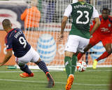 Aug 16, 2014 - MLS: Portland Timbers vs New England Revolution - Donovan Ricketts, Charlie Davies Photo by Stew Milne