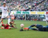 Jun 1, 2014 - MLS: Vancouver Whitecaps vs Portland Timbers - Erik Hurtado, Donovan Ricketts Photo by Jaime Valdez