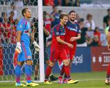 Aug 10, 2014 - MLS: New York Red Bulls vs Chicago Fire - Razvan Cocis, Luis Robles, Mike Magee Photo by Dennis Wierzbicki