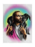 Airbrush Style Jesus-Looking Fella with a Little Black Lamb Affiches par  Junk Food