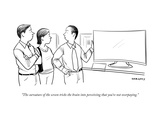 """""""The curvature of the screen tricks the brain into perceiving that you're …"""" - New Yorker Cartoon Premium Giclee Print by Alex Gregory"""