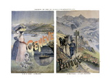 Touristic Posters of Paris-Lyon-Mediterranee, Geneve and Mount Pelvoux Giclee Print