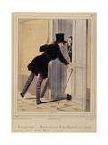 Les Lorettes - N'y a pas moyen ! Mosieu est la avec Mosieu Machinikof et l'attache prussien Giclee Print by Paul Gavarni