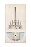 Sketch of an Obelisk on the Pont-Neuf Giclee Print by  Dufourny