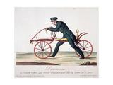 Draisienne ou nouvelle voiture, par brevet d'invention, pour faire 14 lieues en 15 jours Giclee Print by Louis-François Charon