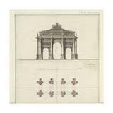 Manuscript and Graphic Description of the Arc De Triomphe Giclee Print by Jules-Denis Thierry