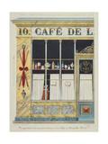 Cafe, 10 Rue Hauteville Giclee Print by Pierre Antoine Leboux De La Mesangere