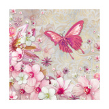 Whimsical Butterfly Pink Flowers Poster by Megan Aroon Duncanson