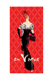 En Vogue Fashion Illustration in Red Premium Giclee Print