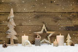 Rustic Country Background - Wood - with Candles and Snowflakes for Christmas Photographic Print by  Imagesbavaria
