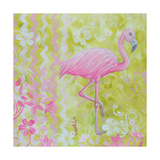 Green and Pink Flowers Flamingo Bird Photographic Print by Megan Aroon Duncanson