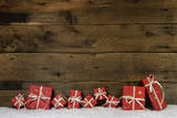 Wooden Rustic Background with Red Christmas Presents. Print by  Imagesbavaria