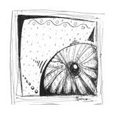 Coastal Sea Urchin Shell Beach Sketch Photographic Print by Megan Aroon Duncanson