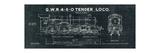 Train Blueprint III Black Prints by Hugo Wild