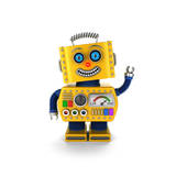 Cute Yellow Vintage Toy Robot over White Background Waving Hello Poster by  badboo