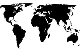 World Map - Black On White Stretched Canvas Print by  Jacques70