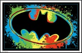 Batman Logo Blacklight Mounted Print