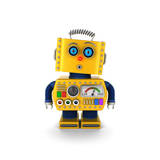 Cute Yellow Vintage Toy Robot with a Surprised Facial Expression over White Background Prints by  badboo