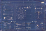 Star Wars - Rebel Alliance Fleet blueprint Mounted Print